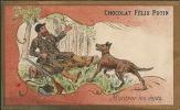 IMAGE CHROMO CHOCOLAT FELIX POTIN - CHASSEUR - Montrer Les Dents - ANIMAUX  - Liseret Doré - Félix Potin