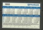 DEUTSCHLAND Pocket Calendar Taschenkalender 1993 Postbank - Kalender