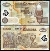 RT)ZAMBIA 500 KWACHA POLYMER FOREIGN PAPER MONEY BANKNOTE- - Zambia
