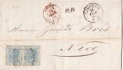 7752# VITTORIO EMANUELE II / LETTERA LIVORNO 1868 Verso LIVORNO PORTO Via GENES BATEAU A VAPEUR => NICE ALPES MARITIMES - 1861-78 Vittorio Emanuele II