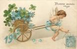 CP ILLUSTREE BONNE ANNEE 1905 ANGE TRAINANT CHARETTE DOREE REMPLIE DE TREFLES ET FLEURS - New Year