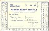 L-AUTOBUS-BORDIGHERA-SANREMO-ABBONAMENTO MENSILE LINEE SATI AUTOLINEE 1972 - Week-en Maandabonnementen