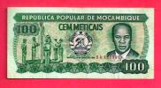 MOZAMBIQUE 1986,  Banknote, Used VF. 100 Metaicas Nr. 130, Little Torn - Mozambique