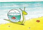 CPM Carte Animaux Humour 14,7x10,5 Cm Marc Chalvin + Enveloppe - Plage Escargot Poisson Aquarium Sea Snail Fish - Humour