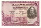 BILLETE DE ESPAÑA DE 50 PTAS DEL AÑO 1928 CALIDAD EBC+  SERIE E - [ 1] …-1931 : Premiers Billets (Banco De España)