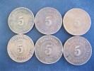 Belle Série Complète 5 Cents George V, 1917 à 1924, 6 Pièces, Mauritius - Mauricio