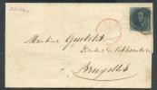 N°4 - Médaillon 20 Centimes Bleu, TB Margé, Obl. P.45 S/L. De GAND Le 16 Octobre 1850 Vers Bruxelles; Soit La 3ème Date - 1849-1850 Médaillons (3/5)