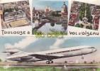 L232 -  TOULOUSE  à  VOL D' OISEAU -4 Vues :Place Du Capitole, La Garonne Au Pont Suspendu, Allées F. VERDIER, CARAVELLE - Toulouse