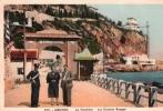 Cpa MENTON, La Frontière, Les Rochers Rouges (balzi Rossi), Couple Près D'un Douanier ( 11.69) - Customs