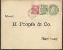 N°56-58 En Affranchissement Complémentaire S/Enveloppe E.P. 10 Centimes Obl. Sc Saint-BERNARD 23-9-1901 Vers Hambourg (D - Entiers Postaux