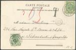 N°56 Obl. Sc BLANKENBERGHE S/C.V. Du 17 Août 1904 Vers Schaerbeek Et Taxée 5 Centimes (T-TX N°3) Obl. Sc BRUXELLES 1. - - Postage Due