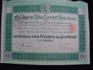 """Action""""Compagnie Parisienne Foncière""""Paris 1924 Très Bon état,manque Un Seul Coupon. - Banque & Assurance"""