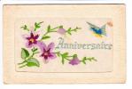 Carte Brodée Et Gaufrée - PAPILLON Et Violettes Pour Anniversaire - 2 Scans - Brodées