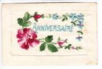 Carte Brodée Et Gaufrée - Belle Rose Et Bleuets Pour Anniversaire - 2 Scans - Brodées
