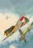Ki-43 'Oscar' Shooting Down A Hurricane   -   Artist  Mark Postlethwaite   -   Large Aviation Art Postcard - 1939-1945: 2ème Guerre