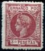 Fernando Poo 1903 Edifil 132N* Nuevo 3 Pts Carmín Oscuro Numeración Ceros De Alfonso XIII - Fernando Poo
