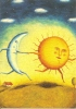 CPM Carte Lune Soleil 14,7x10,5 Cm Alison Jay + Enveloppe - Eclipse - Peintures & Tableaux