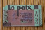 1930 Calendrier Petit Format Calepin Agenda Bloc-notes La Paix Compagnie D'assurances 1930 Rue De La Victoire Paris-IX - Kalenders