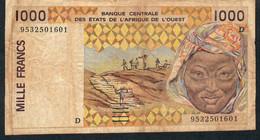 WAS MALI   P411De   1000  FRANCS    1995    FINE Corner Tape - Mali