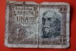 "Banco De España Espagne  UNA PESETA De Curso Legal -Madrid 22 De Julio De 1953""Billet De Banque Bank Banca  Monnaies & B - [ 3] 1936-1975 : Régence De Franco"