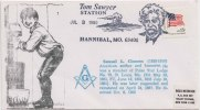 Samuel L Clemens, Writer, Member Of Polar Star Lodge, 79, Tom Swayer Station Freemasonry, Masonic Cover 1980 USA - Franc-Maçonnerie