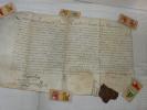 PARCHEMIN LOUIS XIV  1694 AVEC SCEAU ROYAL ET SIGNATURE DU ROI - Documents Historiques
