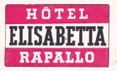 ITALY RAPALLO HOTEL ELISABETTA VINTAGE LUGGAGE LABEL