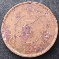5 Cents 1877 ↑↑ (frappe Médaille), Victoria, Mauritius - Mauritius