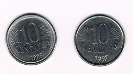 ) BRAZILIE  2 X 10 CENTAVOS  1995/97 - Brésil