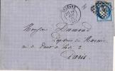 N°60B CÉRÈS IIIe RÉPUBLIQUE 1871 TYPE II - OBLITÉRÉ B - BLEU FONCÉ SUR LETTRE D'ORLÉANS - - Marcofilia (sobres)