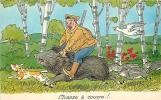 Chasse à Courre. Chasseur Et Sanglier. 2 Scans. Edition Seineloire - Hunting