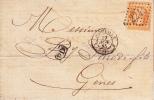 FRANCIA-ITALIABUSTA-LETTERA SCRITTA DA MARSEILLE X GENOVA NEL NOV 1865 TIMBRO RETRO- - Storia Postale