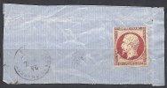 80 C. Rose Sur Fragment Oblitéré PC 3372 De TONNAY-CHARENTE - 1853-1860 Napoléon III