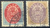 ICELAND 1892 Wmk Crown - Yv.16-17 (Mi.16A-17, Sc.19-20) Used (perfect) VF - 1873-1918 Dänische Abhängigkeit