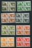 Hungary 1945  Mi 821K-834K MNH TETE-BECHE Blocks - Unused Stamps