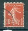 Collection FRANCE ; 1907-20 ; Y&T N° 138d IC ;  Oblitéré - 1906-38 Säerin, Untergrund Glatt