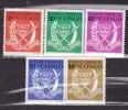 """Vijf Zegels """"Justice-Paix-Travail"""" - Repubblica Democratica Del Congo (1964-71)"""