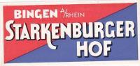 GERMANY BINGEN AM RHEIN STARKENBURGER HOF VINTAGE LUGGAGE LABEL - Hotel Labels