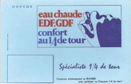 Buvard  Douche Eau Chaude EDF.GDF Confort Au 1/4 De Tour - Electricité & Gaz