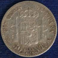 SPAGNA/SPAIN ALFONSO XIII 50 CENTIMOS 1894 BB/VF ARGENTO/SILVER #760A - Provincial Currencies