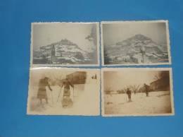4 Photos Originales 1940 1941 ENTRECHAUX 84 Vaucluse Neige Skieurs - France