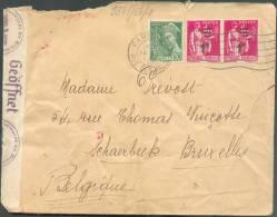 Lettre Censurée De  Paris/rue Des Halles  Vers Schaerbeek - 7966 - Covers & Documents