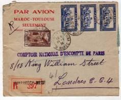 !!! ENVELOPPE LATECOERE RECOMMANDEE DU MAROC POUR LONDRES 1934 - Poststempel (Briefe)