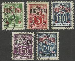 Estland Estonie Estonia 1928 Michel 68 - 72 O - Jobs
