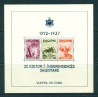 ALBANIA  -  1937  25th Anniversary Of Independence Miniature Sheet Mounted Mint As Scan (toned Gum) - Albania