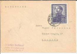 PR001 German-Chinese Friendship 1951, Mao Zedong 50 Pfennige, Ex Magdeburg To Kolding