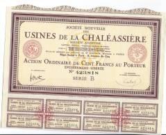 3 Actions  De100 Francs USINES DE LA CHALEASSIERE 1927 - Industrie