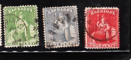Barbados 1875-78 Britannia 3v Used - Barbados (...-1966)