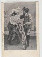 DB225-1906 Cartolina Con COPPIA INNAMORATI+BICICLETTA-viaggiata - Paare