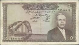 TUNISIA CENTRAL BANK 5 / FIVE DINARS / DINAR 1958 BANKNOTE - TUNISIE BILLET CINQ DINARS - FREE SHIPPING - Tunisia